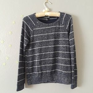 Navy Blue and Silver Striped Knit Top